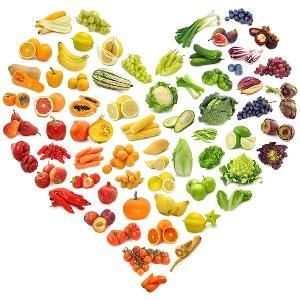 Сердце из овощей и фруктов