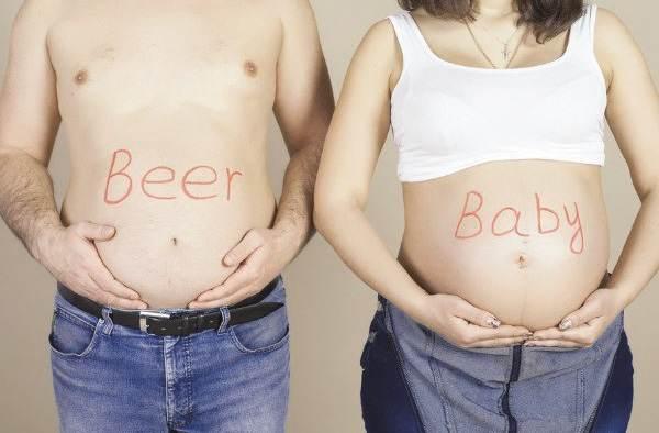 Пивной живот и живот беременной женщины